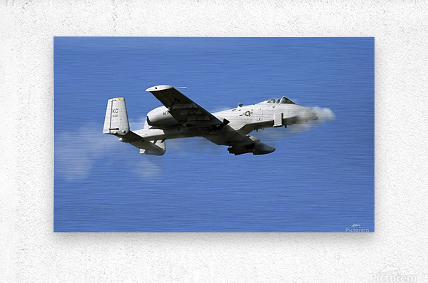 An A-10 Thunderbolt II pilot fires the planes 30-mm cannon.  Metal print