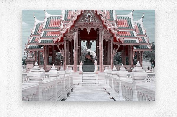Buddhist Monk Pink&Mint  Metal print