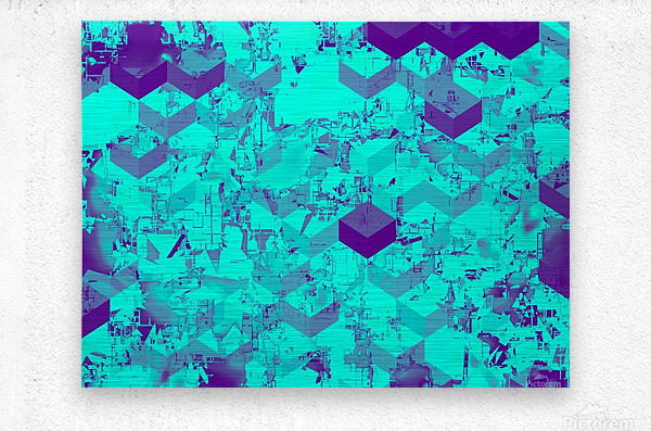 geometric square pattern abstract in blue  Metal print