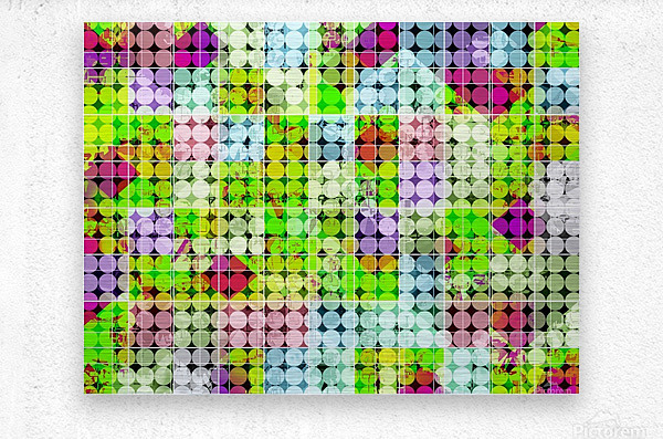 geometric square and circle pattern abstract in green pink  Metal print