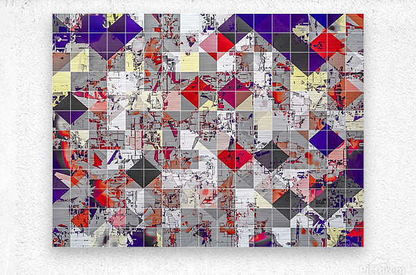 geometric square pixel pattern abstract in purple orange red  Metal print