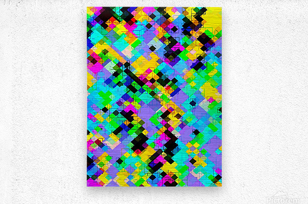 geometric square pixel pattern abstract in blue green yellow pink  Metal print