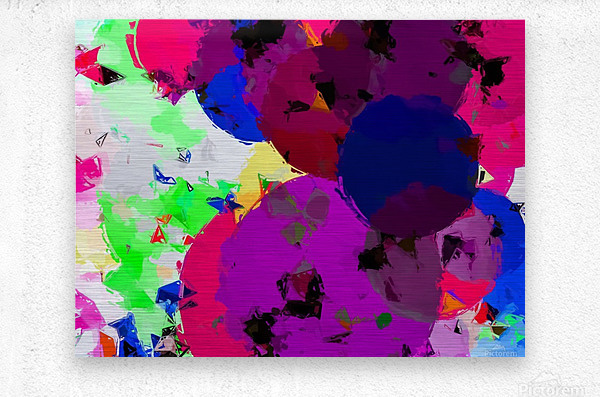geometric circle pattern abstract in pink blue green  Metal print