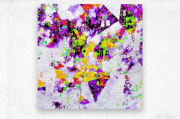 geometric triangle pattern abstract in purple yellow green  Metal print