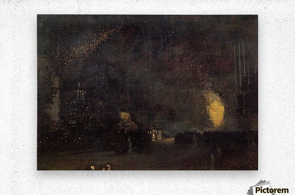 Nocturne, Black and Gold, The Fire Wheel by Whistler  Metal print