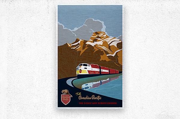 Retro CP rail travel poster  Metal print