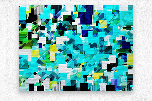 geometric square pixel pattern abstract in blue and yellow  Metal print