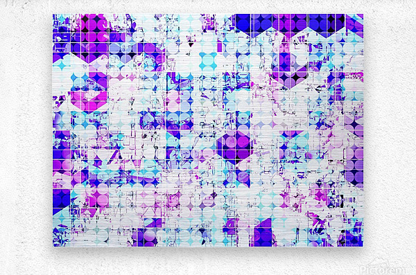 geometric square and circle pattern abstract background in pink blue  Metal print