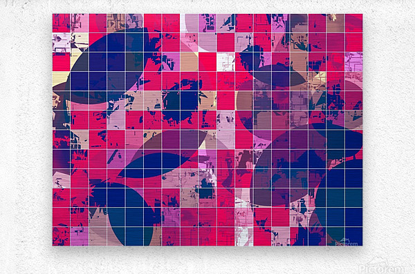 geometric square and circle pattern abstract background in red pink blue  Metal print