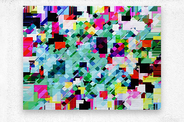 geometric square pixel pattern abstract in green pink blue yellow  Metal print
