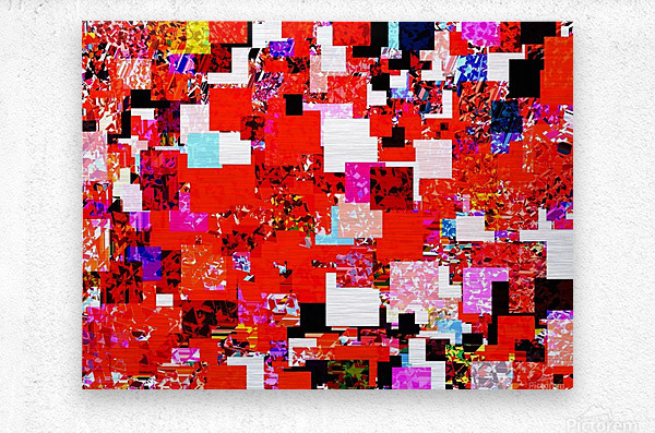 geometric square pixel pattern abstract in red blue pink  Metal print