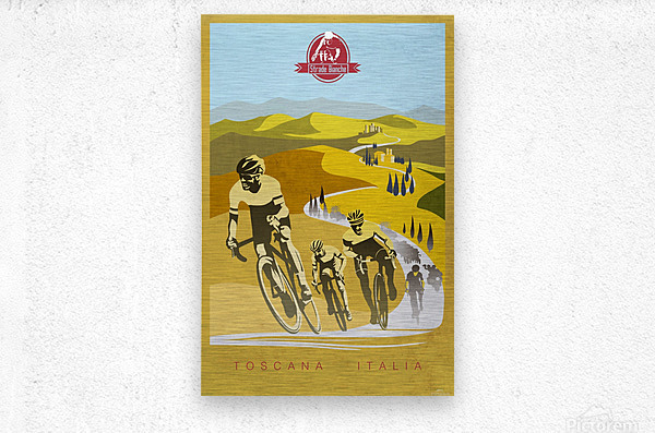 retro Strade Bianche cycling poster  Metal print