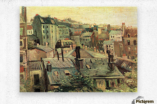 Overlooking the rooftops of Paris by Van Gogh  Metal print