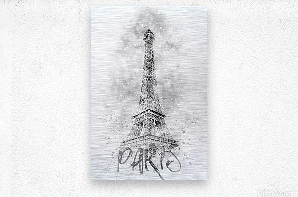 Monochrome Art EIFFEL TOWER | watercolor  Metal print