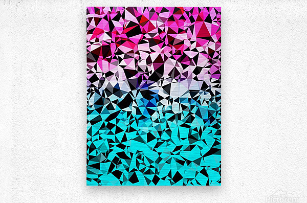 geometric triangle pattern abstract in pink blue black  Metal print