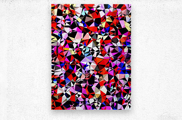 geometric triangle pattern abstract in red pink black blue  Metal print