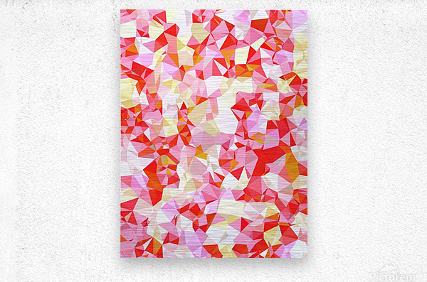 geometric triangle pattern abstract in pink red orange  Metal print