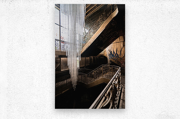 Abandoned Synagogue Icicle Chandelier  Metal print