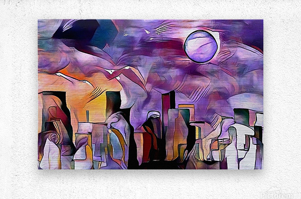Colorful City Silhouettes  Metal print