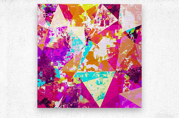 geometric triangle pattern abstract in pink blue purple  Metal print
