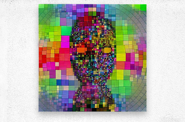 Mysterious Colorful Mask  Metal print