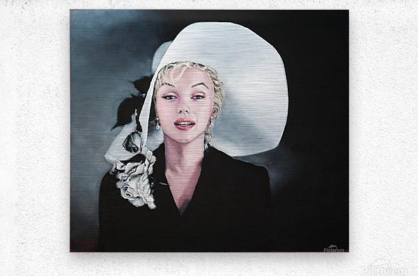 Marilyn with white hat  Metal print