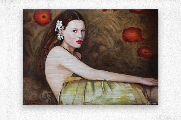 Woman with flowers for all season  Metal print