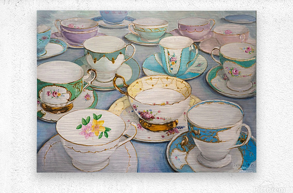 Vintage tea cups 3622x4022   Metal print