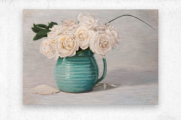 White roses in green pitcher 28 x 40 oil painting landscape 1  Metal print