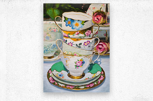 Cups and roses  still life oil painting   Metal print