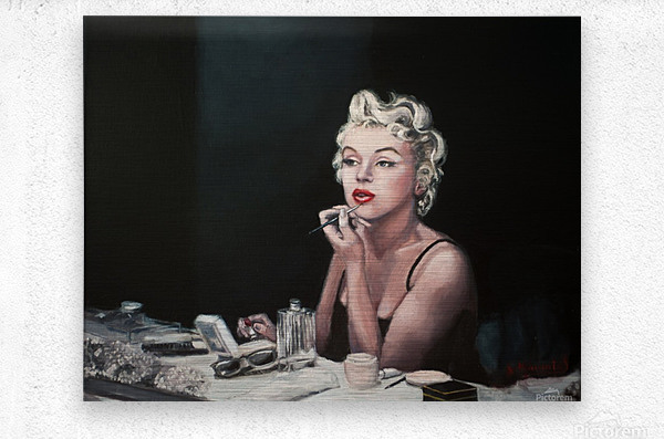 Marilyn backstage  oil painting  portrait 1  Metal print