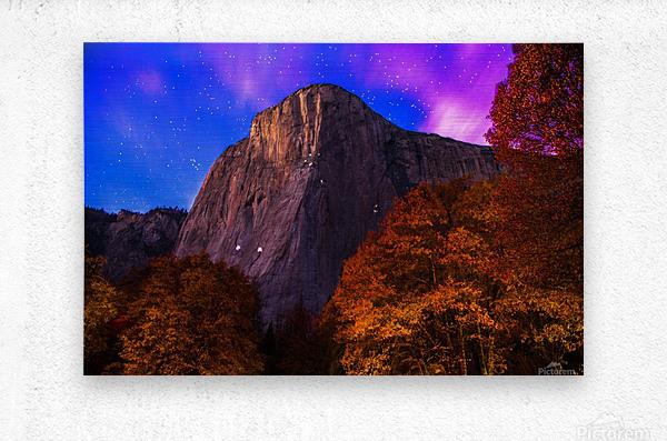 El Capitan Climbers at Night Yosemite National Park  Metal print