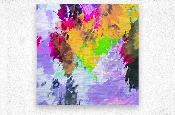 painting texture abstract background in purple yellow green pink  Metal print