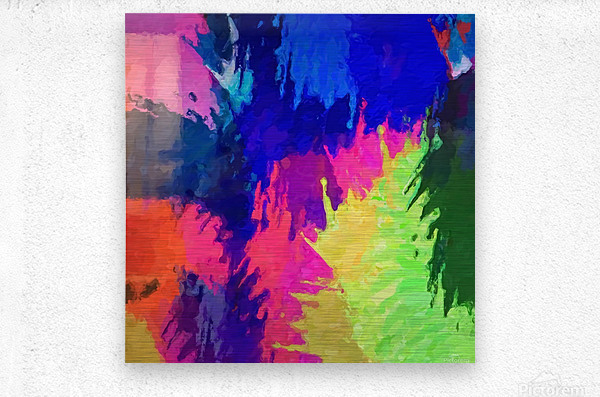 painting texture abstract background in blue pink yellow green  Metal print
