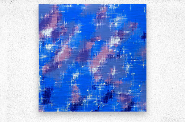 painting texture abstract background in blue pink  Metal print