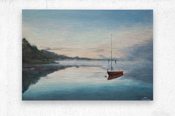 At rest  Au repos   oil painting  waterscape 1  Metal print