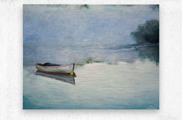 Fog on the lake   Brume sur le lac oil painting waterscape 1  Metal print