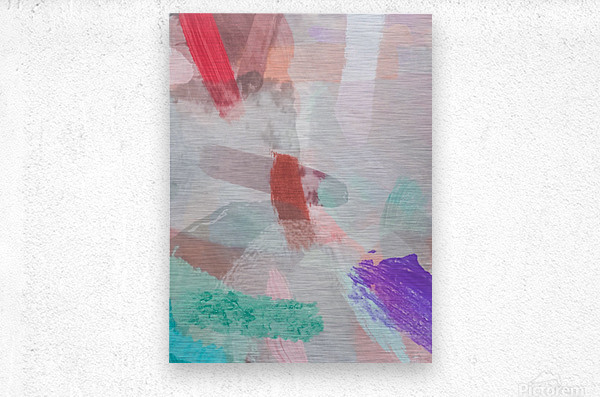 brush painting texture abstract background in red pink purple green  Metal print