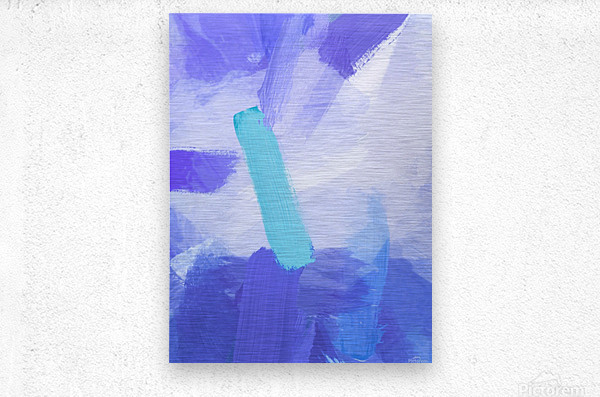 brush painting texture abstract background in blue  Metal print