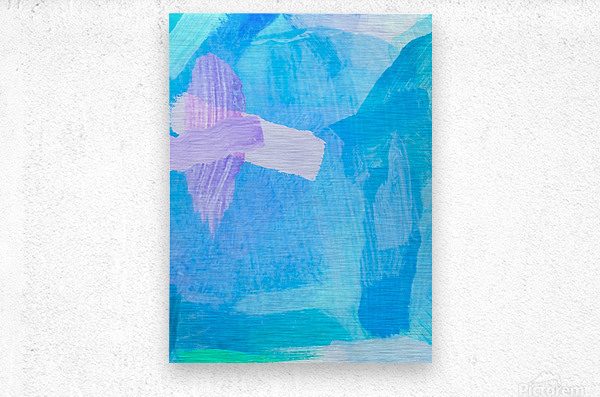 brush painting texture abstract background in blue purple  Metal print