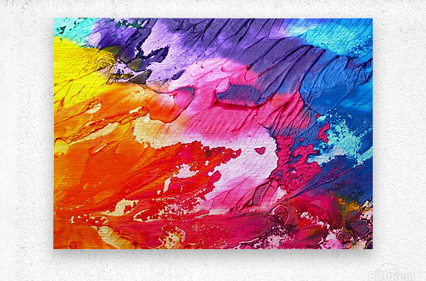 abstract, art, background, paint, texture, colorful, red, color, blue, watercolor, design, canvas, artistic, yellow, blot,  Metal print