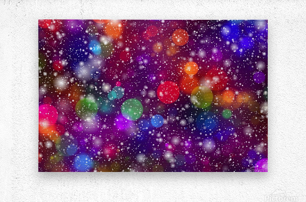 background, abstract, bokeh, lights, decoration, star, party, colorful, confetti,  Metal print