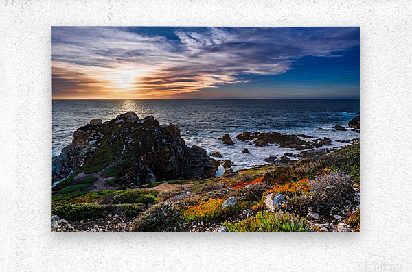 sea, seashore, water, nature, sky, blue, summer, landscape, colorful, clouds, sunset, outdoor,  Metal print