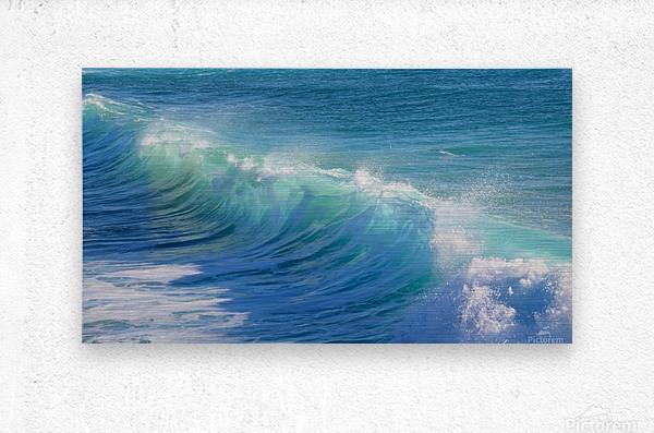 surf, water, wave, sea, nature, turquoise, ocean, splash, seashore, panoramic, spray, foam,  Metal print