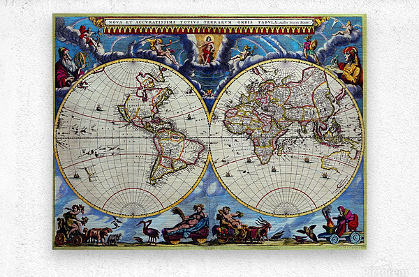 Antique map old map history globe earth maps historical map drawing old map of the world   Metal print