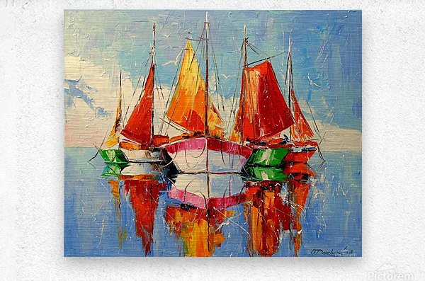 Boats in the morning  Metal print