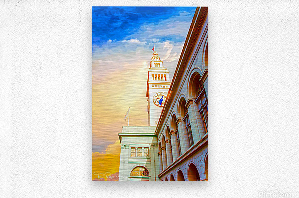 San Francisco Ferry Building Clock Tower By Terri Phillips Mierkey  Metal print