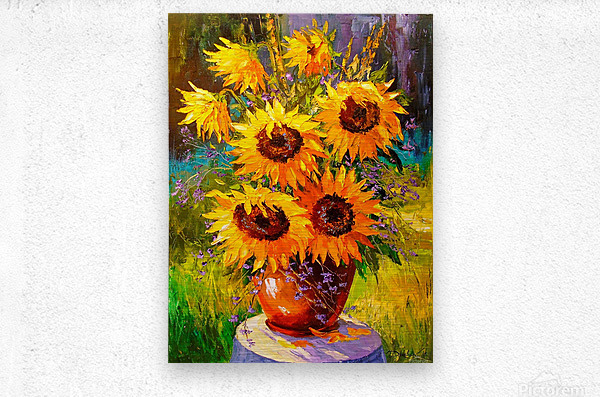 A bouquet of sunflowers  Metal print