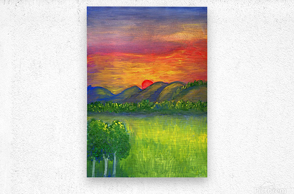 Mystical red sunset  Metal print