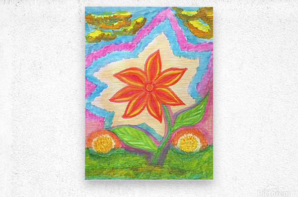 Magic scarlet flower   Metal print